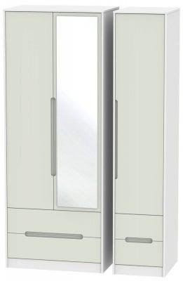 Monaco 3 Door 4 Drawer Tall Combi Wardrobe - Kaschmir and White
