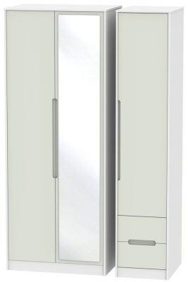 Monaco 3 Door 2 Right Drawer Tall Combi Wardrobe - Kaschmir and White