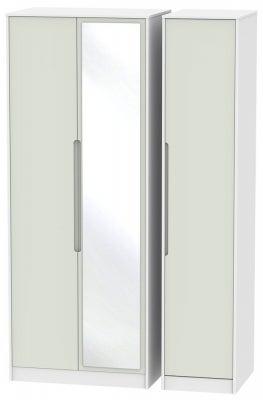 Monaco 3 Door Tall Mirror Wardrobe - Kaschmir and White