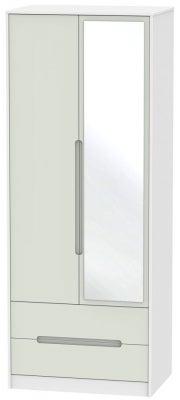 Monaco 2 Door Combi Wardrobe - Kaschmir and White