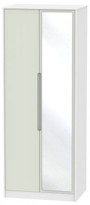 Monaco 2 Door Tall Mirror Wardrobe - Kaschmir and White