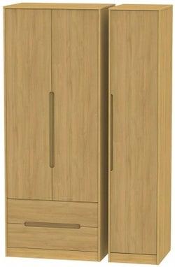 Monaco Modern Oak 3 Door 2 Left Drawer Tall Wardrobe