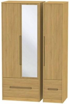Monaco Modern Oak 3 Door 4 Drawer Tall Combi Wardrobe