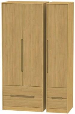 Monaco Modern Oak 3 Door 4 Drawer Tall Wardrobe