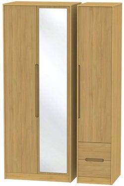 Monaco Modern Oak 3 Door 2 Right Drawer Tall Combi Wardrobe