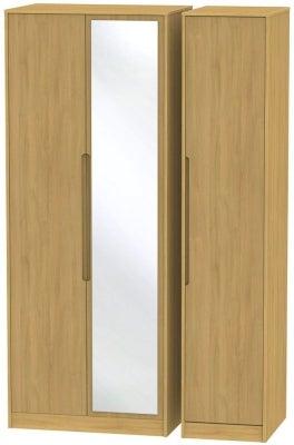 Monaco Modern Oak 3 Door Tall Mirror Wardrobe