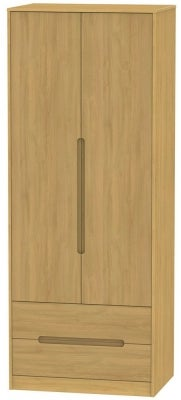 Monaco Modern Oak 2 Door 2 Drawer Tall Wardrobe