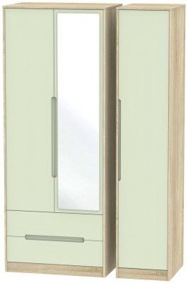 Monaco 3 Door 2 Left Drawer Tall Combi Wardrobe - Mussel and Bardolino