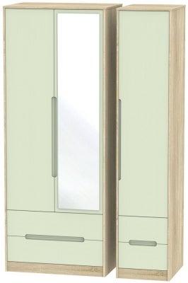 Monaco 3 Door 4 Drawer Tall Combi Wardrobe - Mussel and Bardolino
