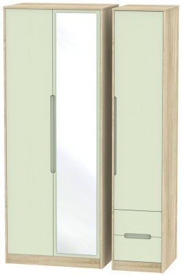 Monaco 3 Door 2 Right Drawer Tall Combi Wardrobe - Mussel and Bardolino