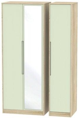 Monaco 3 Door Tall Mirror Wardrobe - Mussel and Bardolino