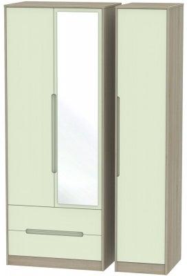 Monaco 3 Door 2 Left Drawer Tall Combi Wardrobe - Mussel and Darkolino
