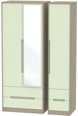 Monaco 3 Door 4 Drawer Tall Combi Wardrobe - Mussel and Darkolino