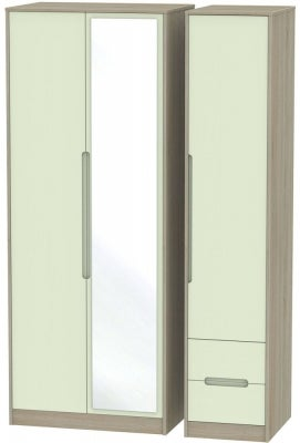 Monaco 3 Door 2 Right Drawer Tall Combi Wardrobe - Mussel and Darkolino