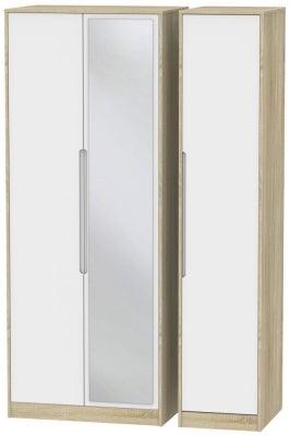 Monaco 3 Door Tall Mirror Wardrobe - White Matt and Bardolino