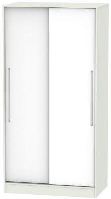 Monaco 2 Door Sliding Wardrobe - White and Kaschmir