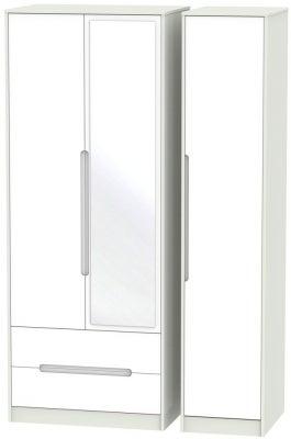 Monaco 3 Door 2 Left Drawer Tall Combi Wardrobe - White and Kaschmir