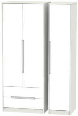 Monaco 3 Door 2 Left Drawer Tall Wardrobe - White and Kaschmir