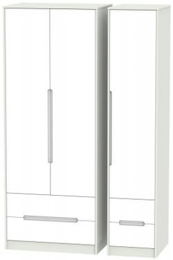 Monaco 3 Door 4 Drawer Tall Wardrobe - White and Kaschmir
