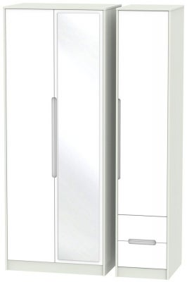 Monaco 3 Door 2 Right Drawer Tall Combi Wardrobe - White and Kaschmir