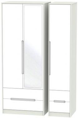 Monaco 3 Door 4 Drawer Tall Combi Wardrobe - White and Kaschmir