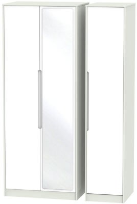 Monaco 3 Door Tall Mirror Wardrobe - White and Kaschmir