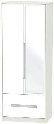 Monaco 2 Door Tall Combi Wardrobe - White and Kaschmir