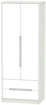 Monaco 2 Door 2 Drawer Tall Wardrobe - White and Kaschmir