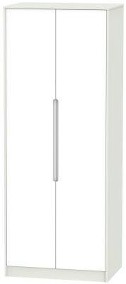 Monaco 2 Door Tall Hanging Wardrobe - White and Kaschmir