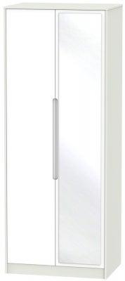 Monaco 2 Door Tall Mirror Wardrobe - White and Kaschmir