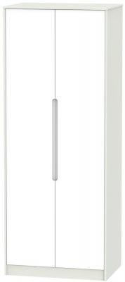 Monaco 2 Door Tall Wardrobe - White and Kaschmir