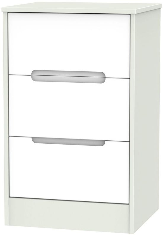 Monaco 3 Drawer Bedside Cabinet - White and Kaschmir