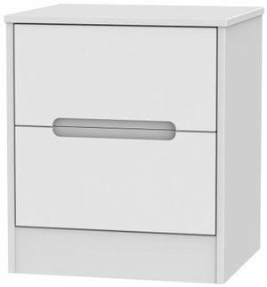 Monaco White 2 Drawer Bedside Cabinet