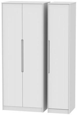 Monaco White 3 Door Tall Wardrobe