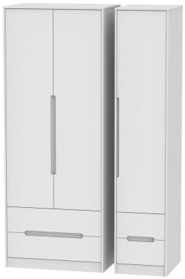Monaco White 3 Door 4 Drawer Tall Wardrobe