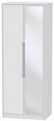 Monaco White 2 Door Tall Mirror Wardrobe