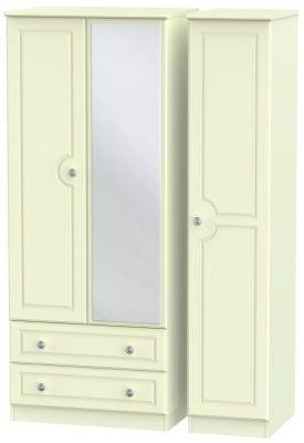 Pembroke Cream 3 Door 2 Left Drawer Mirror Wardrobe