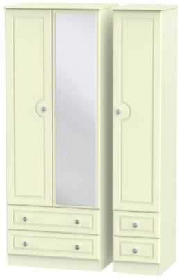 Pembroke Cream 3 Door 4 Drawer Tall Mirror Wardrobe