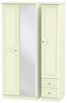 Pembroke Cream 3 Door 2 Right Drawer Tall Mirror Wardrobe