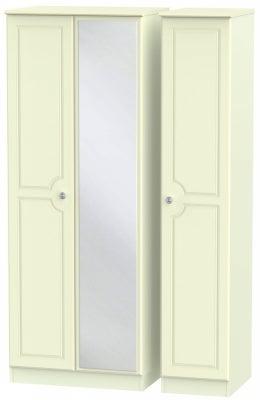 Pembroke Cream 3 Door Tall Mirror Wardrobe