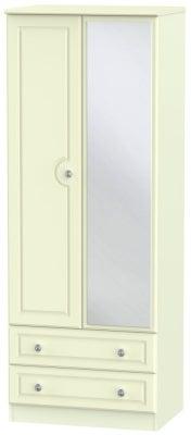 Pembroke Cream 2 Door Tall Mirror Combi Wardrobe