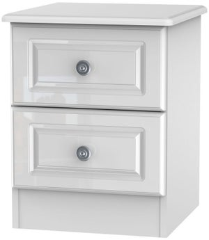 Pembroke High Gloss White 2 Drawer Bedside Cabinet