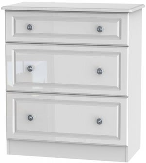 Pembroke High Gloss White 3 Drawer Deep Chest