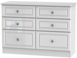 Pembroke High Gloss White 6 Drawer Midi Chest