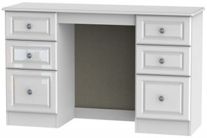 Pembroke High Gloss White Double Pedestal Dressing Table