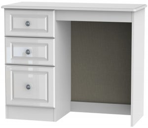 Pembroke High Gloss White Single Pedestal Dressing Table