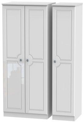 Pembroke High Gloss White 3 Door Plain Wardrobe