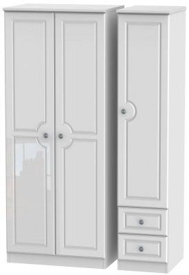 Pembroke High Gloss White 3 Door 2 Drawer Plain Wardrobe