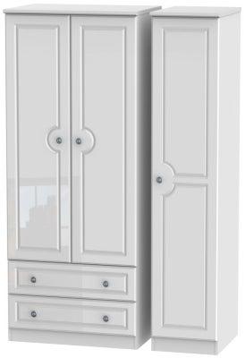 Pembroke High Gloss White 3 Door 2 Left Drawer Wardrobe