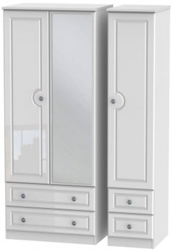 Pembroke High Gloss White 3 Door 4 Drawer Mirror Wardrobe